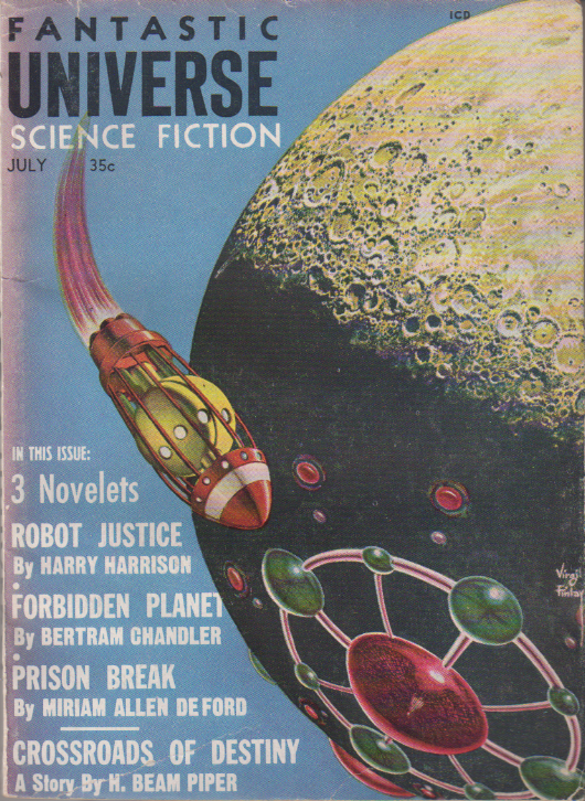 Crossroads of Destiny by H. Beam Piper, unrelated original Fantastic Universe edition cover illustration, 1959