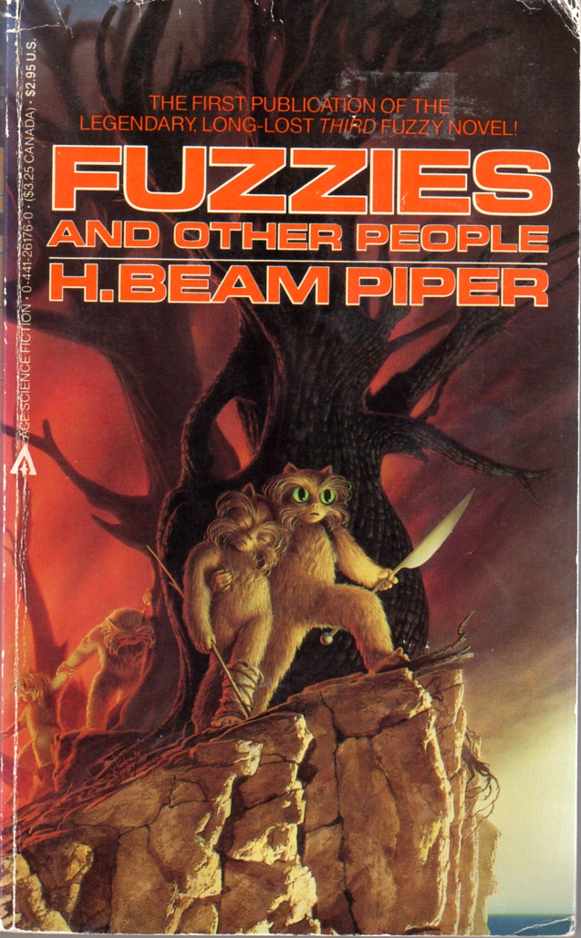 Fuzzies and Other People by H. Beam Piper, original Ace edition cover illustration by Michael Whelan, 1984