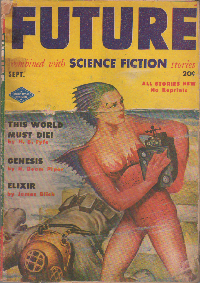 Genesis by H. Beam Piper, unrelated original Future edition cover illustration, 1951