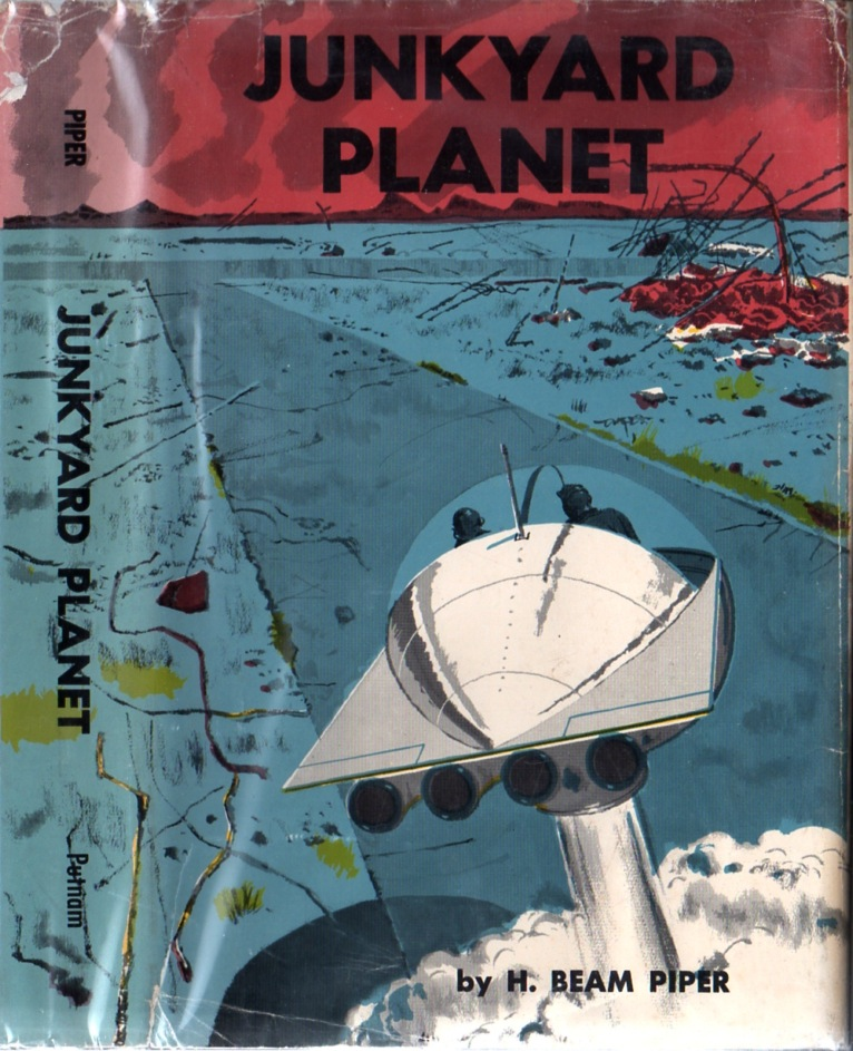 Junkyard Planet by H. Beam Piper, original Putnam edition dust jacket illustration by Herb Mott, 1963