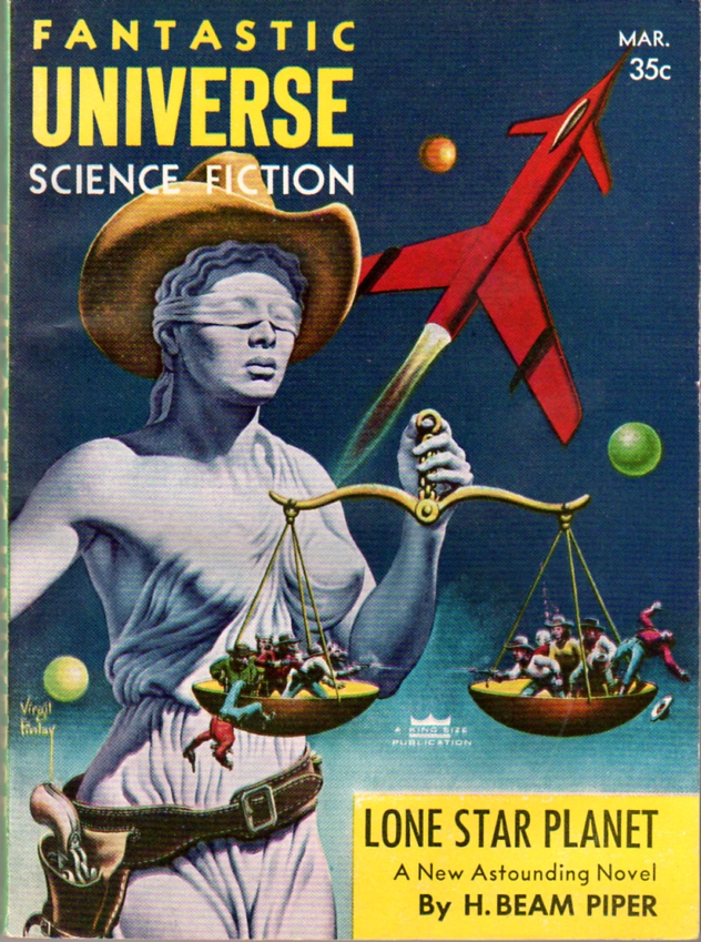 Lone Star Planet by H. Beam Piper and John J. McGuire, original Fantastic Universe edition cover illustration by Virgil Finlay, 1957