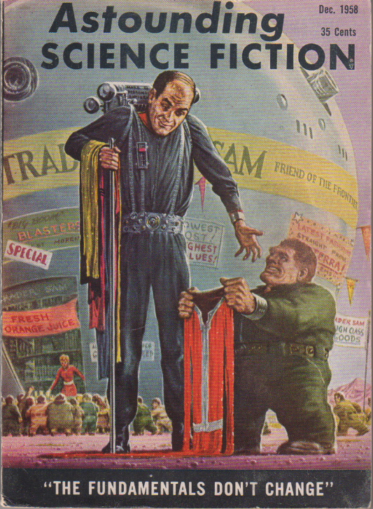 Ministry of Disturbance by H. Beam Piper, unrelated original Astounding edition cover illustration, 1958