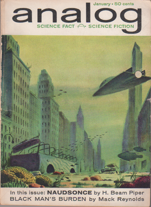 Naudsonce by H. Beam Piper, unrelated original Analog edition cover illustration, 1962
