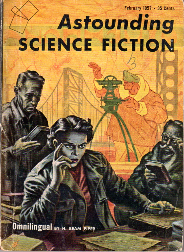 Image - Omnilingual by H. Beam Piper, original Astounding Science Fiction edition cover illustration by Kelly Freas (1957)