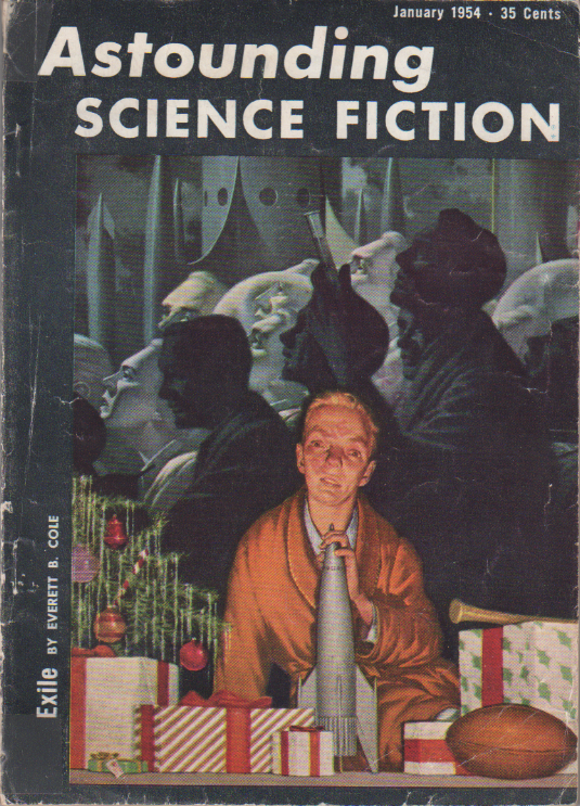 The Return by H. Beam Piper and John J. McGuire, unrelated original Astounding Science Fiction edition cover illustration, 1954