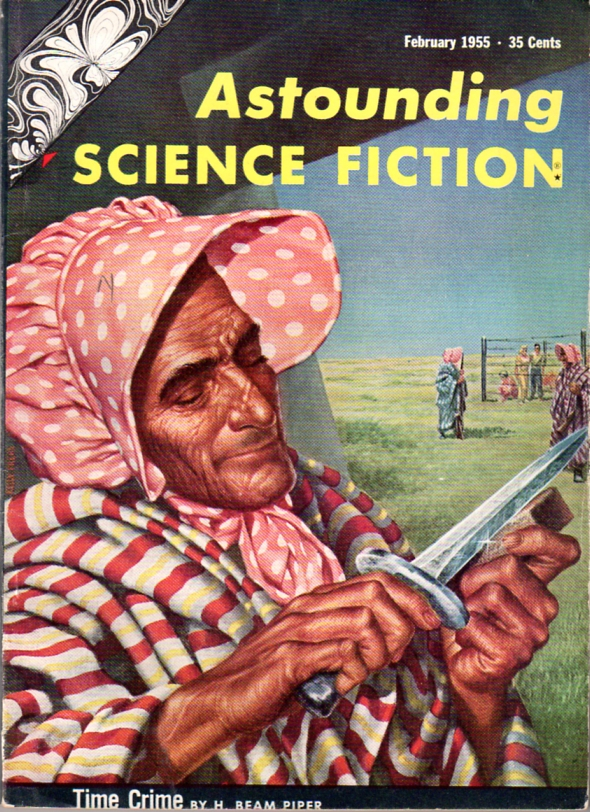 Time Crime by H. Beam Piper, original Astounding edition cover illustration by Kelly Freas (1955)